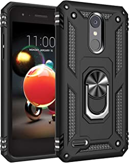 Phone Case for [LG Phoenix 4 / LG Phoenix 3 (AT&T)], [Ring Series][Black] Shockproof Defender [Full Rotating Metal Ring] Cover with [Kickstand] for LG Phoenix 3 & LG Phoenix 4 (AT&T)