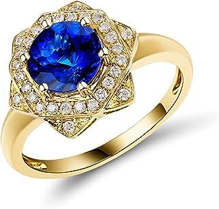 Daesar Anello in Oro Giallo 18K, Anelli Donna Fidanzamento Anello con Tanzanite 1.3ct Fiore Anelli Nuziali Oro