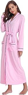 Women's Cotton Knit Long Kimono Robe Spa Bathrobe Soft Sleepwear