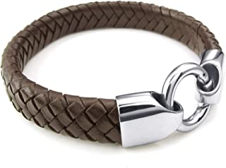 ANAZOZ Stainless Steel Silvery Bracelet Wide Cuff Bangle Black Leather Mens Jewelry