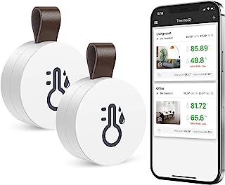 ORIA 2pcs Trådlös Termometer Hygrometer, Mini Bluetooth 5.0 Fuktighets Sensor med Data Export & Varningar för iOS Android,...