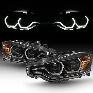 For BMW F30 3-Series 4 Doors Sedan Black Bezel Factory Halogen Type Dual U-Halo Ring LED Projector Headlights
