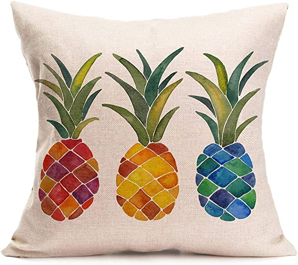 Asamour Pillow Covers Summer Colorful Fresh Pineapple Tropical Fruit Cotton Linen Throw Pillow Case Cushion Cover Outdoor Home Sofa Couch Decorative Square 18x18 Inch Colorful Pineapple
