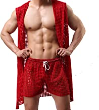 Men's Sexy Hooded Sleeveless Robes Bathrobes Mesh See-Through Lingerie Sleepwear Pajamas
