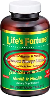 Life's Fortune Multivitamin & Mineral 180 Tablets, All Natural Energy Source Supplying Whole Food...