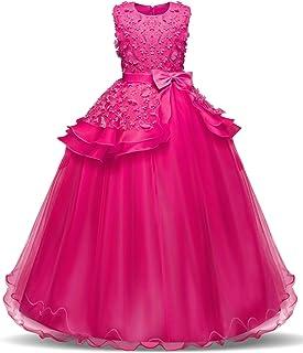 NNJXD Vestido de Fiesta de Boda,Vestido de La Princesa de Las Niñas,Vestido de Bautismo de Niña 5-14 Años