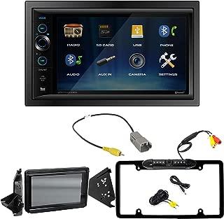 Dual Double-DIN Digital Media USB AUX Bluetooth Stereo Receiver, Dash Kit w/Splash Guard, Reverse Cam Retention Harness, Rearview Camera (Bundle Fits Polaris Slingshot 2015-Up)