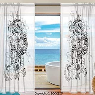 Shutters Decorative Sheer Curtains for Kitchen Window Drapes with Rod Pocket for Small Windows,2 Panels,Japanese Dragon,Sketch Artwork Style Ancient Mighty Figure with Claws Fire Tattoo Decorative,Bl