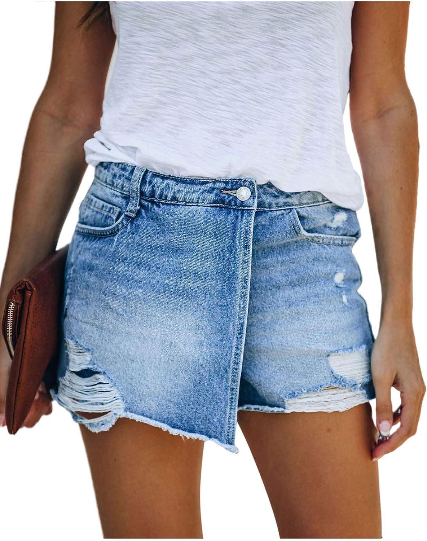 Selowin Womens High Waisted Pleated Ripped Pockets Folded Hem Denim Jeans Shorts