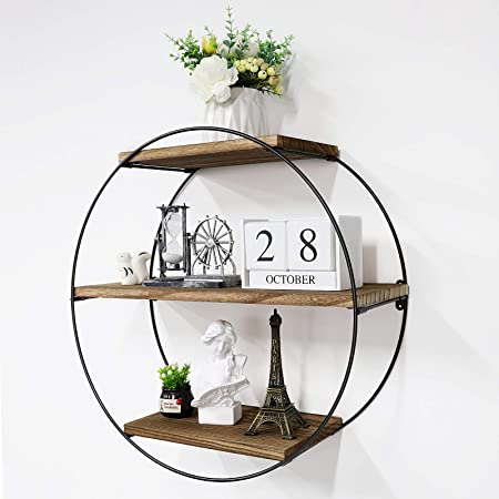 King Do Way Floating Shelves Decorative Round Shelf Storage Organiser Wooden Black Metal Wall Mounted Multi Unit Shelving Industrial Modern Rack Frame With Iron And Wood Display Bookshelf Amazon Co Uk Kitchen