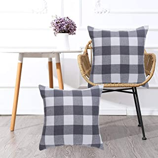 MKLFBT Pack of 2 Farmhouse Decor Decorative Pillow Covers 18 x 18 Grey White Buffalo Checked Plaids Fall Throw Pillow Covers Linen Cushion Covers for Sofa Couch Outdoor Camping