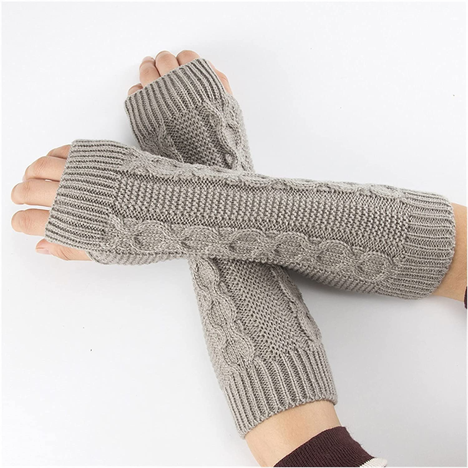 CHHNGPON Bridal Gloves Women Semi-Long Autumn Winter Knitted Gloves Half Fingered Gloves Hand Warmer Girls Soft Mitten Arm Sleeves Glove (Color : F, Size : One Size)