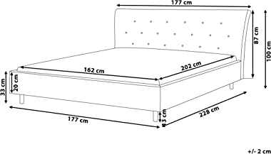 Beliani - Lit Double - Saverne - 160 x 200 cm, en Tissu, Gris Clair