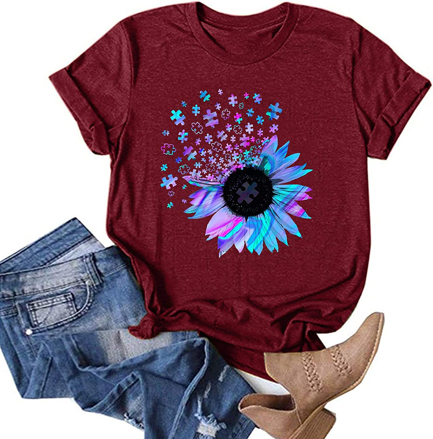 Beppter Women Summer Tops Trendy Casual Short Sleeve Sunflower Graphic Tees Workout Shirts Loose Fit Blouses Tshirts(C-Wine,3X-Large)
