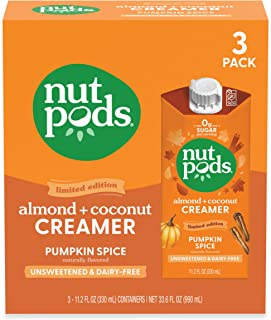 nutpods Pumpkin Spice (3-Pack), Unsweetened Dairy-Free Creamer, Made from Almonds and Coconuts, Whole30, Gluten Free, Non-...