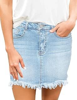 Women's Casual Frayed Raw Hem Mid Waisted Pockets Denim Jean Short Skirt
