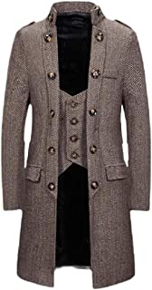 ouxiuli Womens Classic Fake Two Pieces Wool Blend Long Pea Coat with Hood