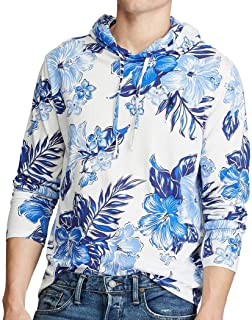Men's Floral Cotton Jersey Hooded T-Shirt Hoodie, Vintage...