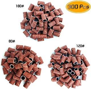 Kuqqi 300 Pcs Professional Sanding Bands for Nail Drill Bits, 3 Sizes #80#120#180 Grit Nail File