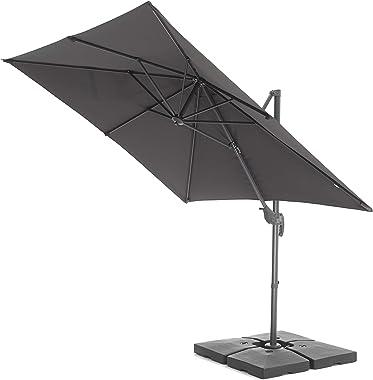 Acaza Parasol Flottant inclinable, 250x250 cm, Toile carrée, Parasol déporté Solide, Gris foncé