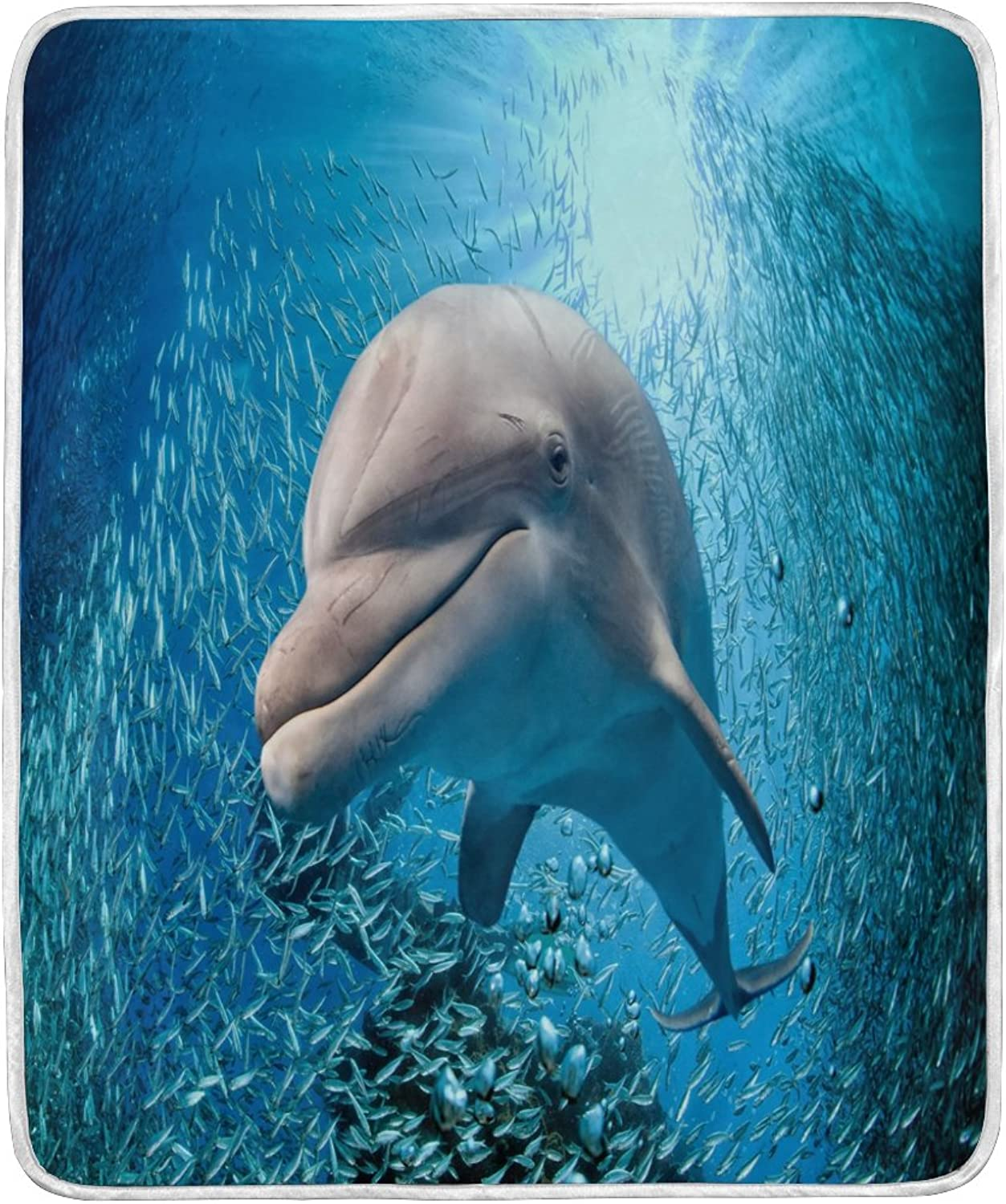 ALAZA Home Decor Fantasy Dolphin Ocean Sea Blanket Soft Warm Blankets for Bed Couch Sofa Lightweight Travelling Camping 60 x 50 inch Throw Size for Kids Boys Women