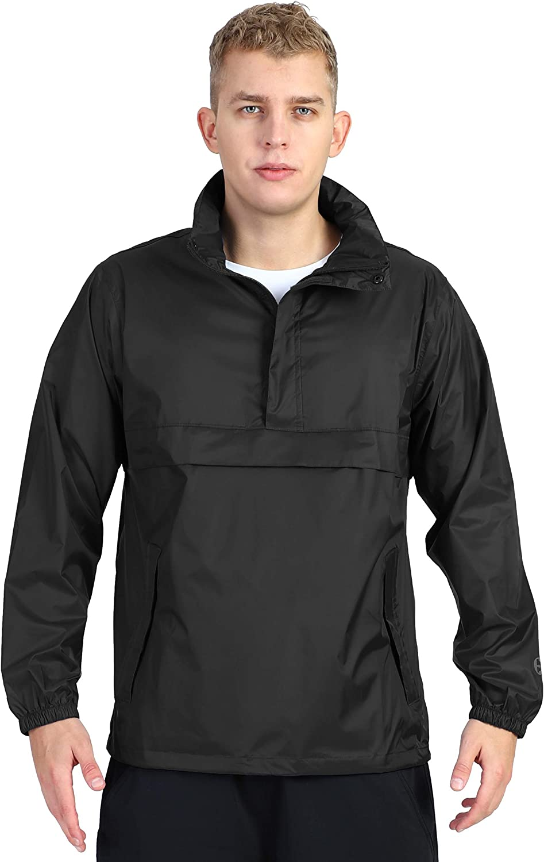 Outdoor Ventures Men's Pullover Rain Jacket Packable Hooded Waterproof Cycling Running Reflective Raincoats
