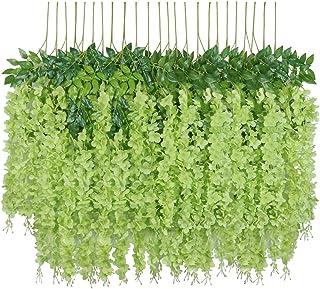 U'Artlines 12 Pack 3.6 Feet/Piece Artificial Fake Wisteria Vine Ratta Hanging Garland Silk Flowers String Home Party Weddi...