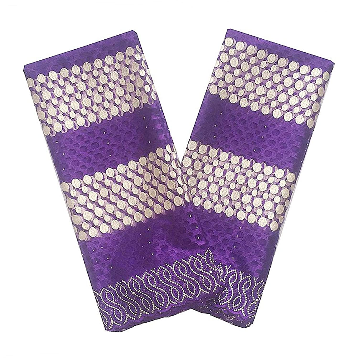 WorthSJLH African Lace Fabric 2018 Lace for African Parties White Gold Lilac Lace Fabric New Tulle French Lace Fabrics LF867 (Purple)