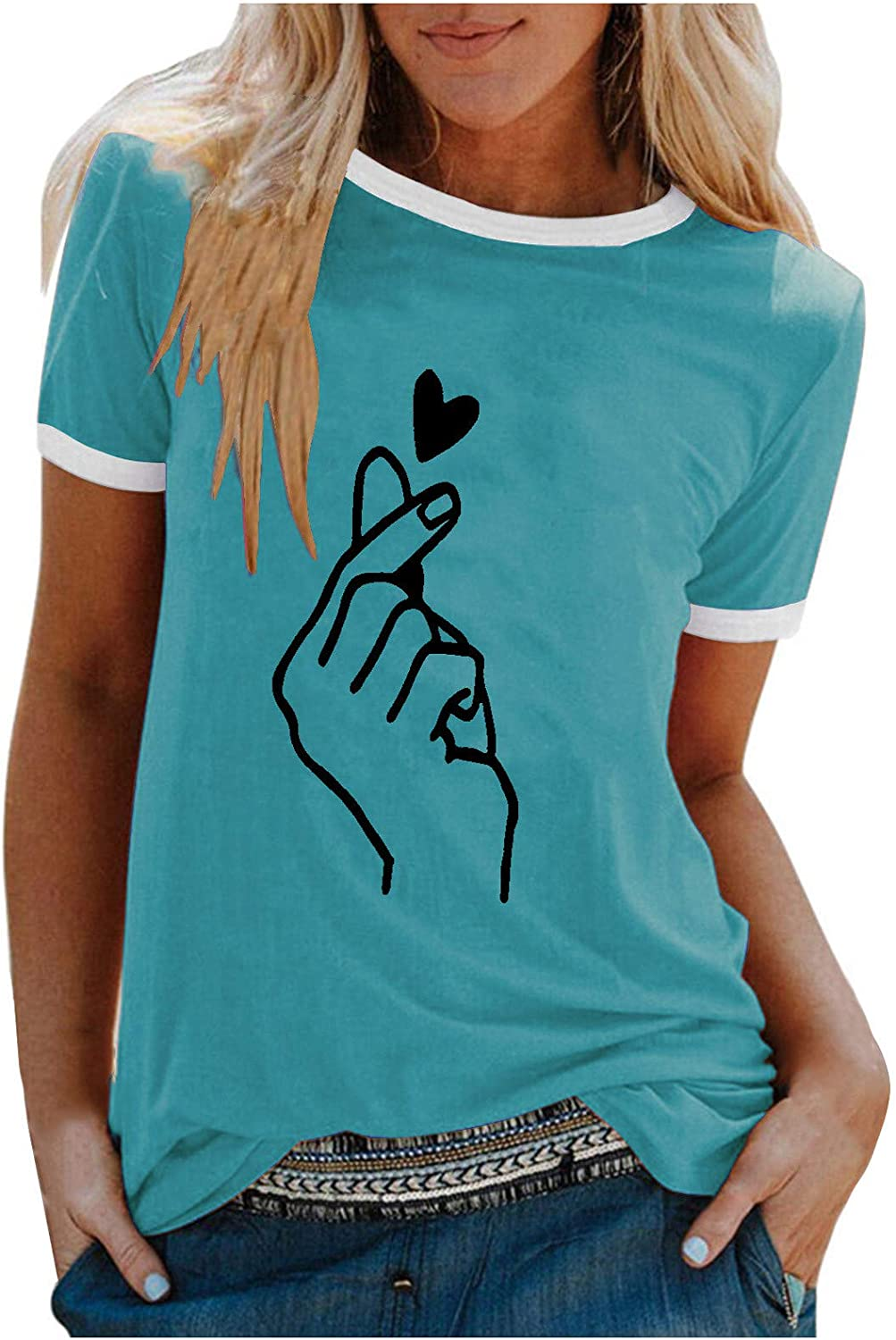 FABIURT T Shirts for Women Fashion Printed Round Neck Graphic Tee Shirt Summer Casual Loose Pullover Blouse Tunic Tops