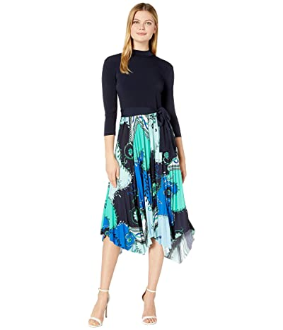 Donna Morgan Long Sleeve Jersey Asymmetrical Hem Pleated Skirt Mock Neck Self Belt Dress (Cobalt Multi) Women