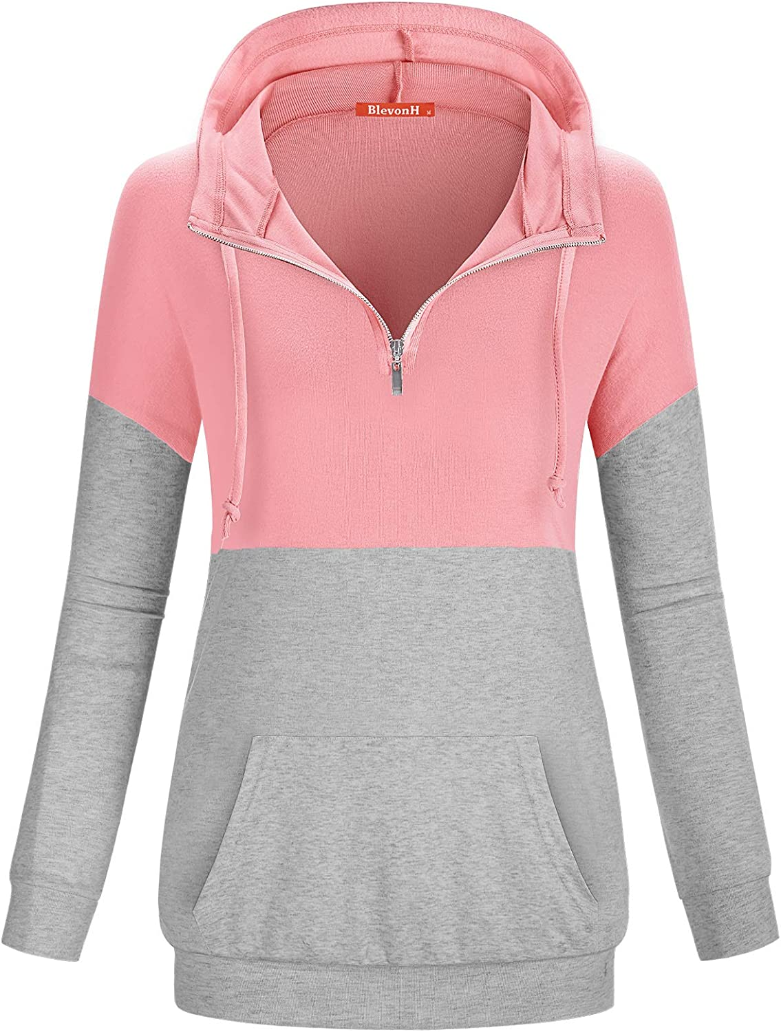 Blevonh Women 1//4 Zipper Hoodies Color Block Print Pocket Pullover Sweatshirt