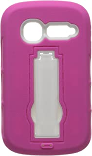 Eagle Cell for Alcatel OneTouch Pop C1 Hybrid Armor Skin Protective Case Cover with Stand - Retail Packaging - White/Hot Pink