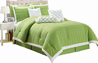 Legacy Decor 9 pc Pleated Microfiber Comforter Set, Lime Green and White Color, King Size