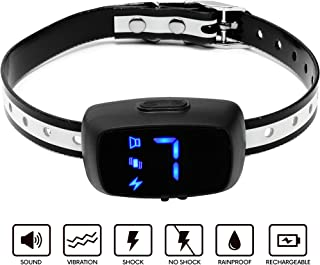 FIG TRADERS Dog BARK Collar 2019 with LED Screen 7 Adjustable Sensitivity and Intensity Levels-Dual Anti Barking Modes Rechargeable/Rainproof No Barking Dog Collar for Medium and Large Breeds