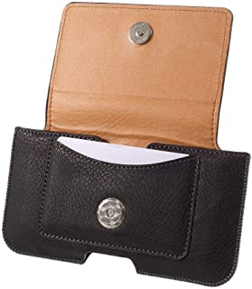 DFV mobile - Leather Horizontal Belt Clip Case with Card Holder for Connect i401 - Black