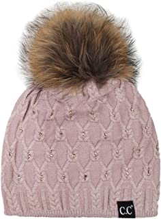 ScarvesMe Diamond Rhinestone Knitted Angora Skull Cap Hat Beanie with Real Racoon Fur Pom Pom