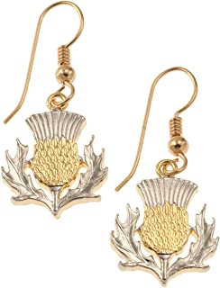 Scottish Thistle Earrings, Scotland Two Pound Hand Cut