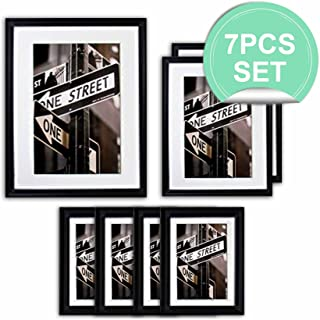 THE Display Guys 7pcs Matte Black Solid Pine Wood Photo Frame Set, One 11x14 Inch, Two 8x10 Inch, Four 5x7 Inch, With White Core Mat Boards And Picture Collage Mat Boards, Luxury Made Affordable