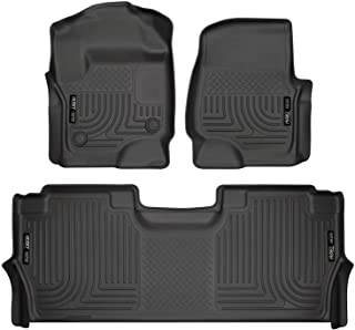 Husky Liners 94061 Black Weatherbeater Front & 2nd Seat Floor Mats Fits 2017-19 Ford F-250/F-350 Crew Cab - with factory storage box