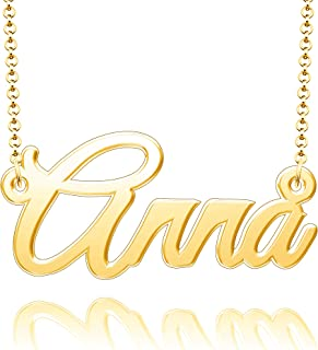 Moonlight Collections Custom Name Necklace Personalized Gifts 2mm Chain Necklace with Name