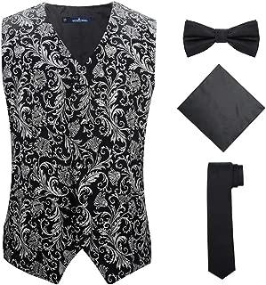 Mens 4pc Classic Paisley Suit Vest Set Necktie Bowtie Hanky for Tuxedo