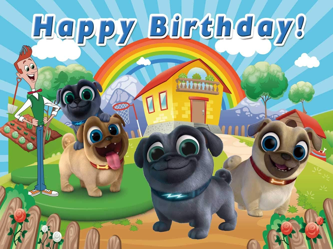 Personalized Name KidsChildren Birthday Party Decoration Banner Dog Background Happy Birthday Banner Dog Lovers Birthday Party Banners