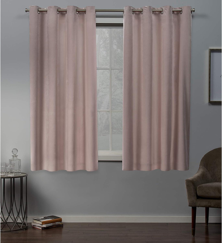 Exclusive Home Velvet Grommet Top Curtain Panel Pair, bluesh Pink, 54x63, 2 Piece