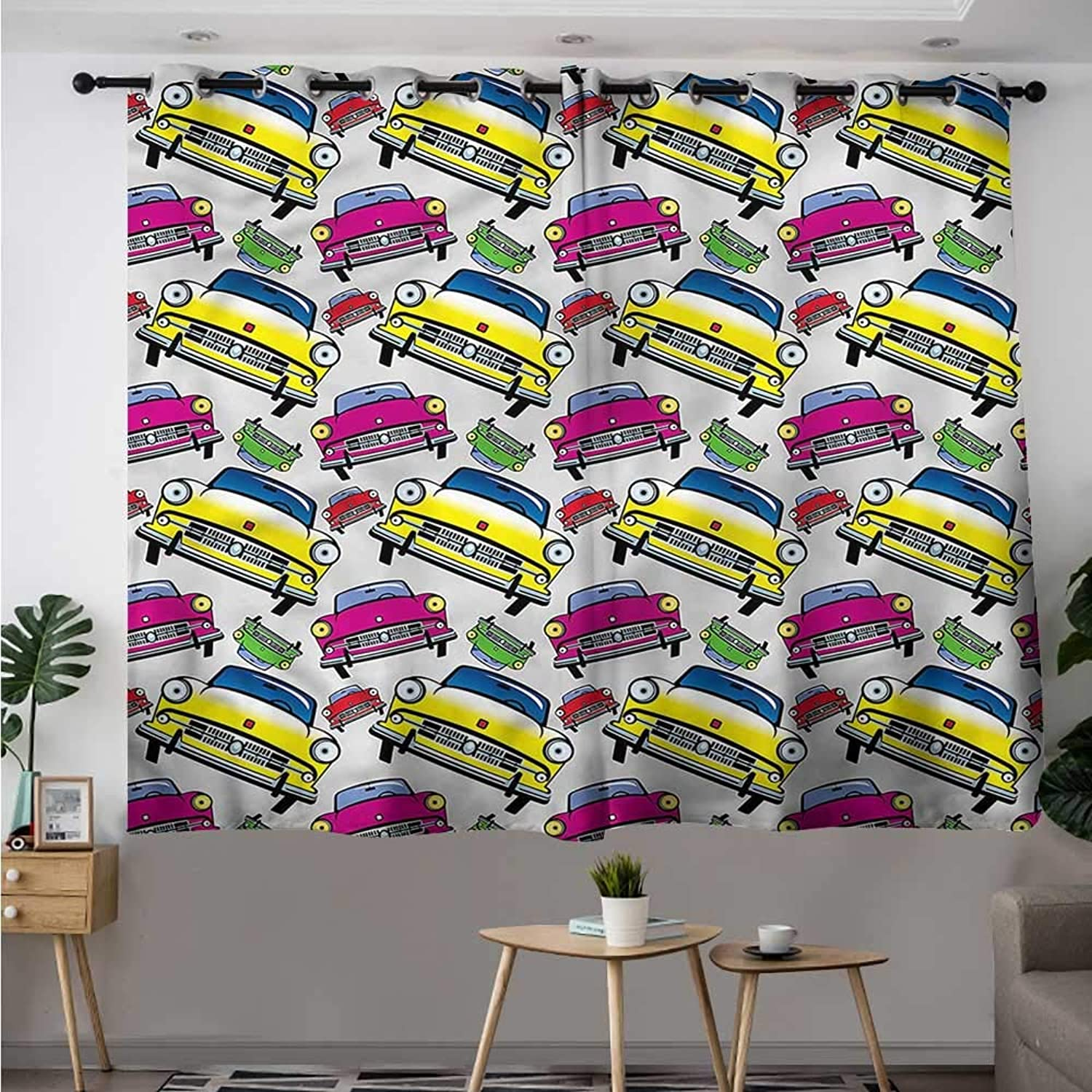 Fbdace Boys Room Sliding Door Curtain Classic Cars Cartoon Great for Living Rooms & Bedrooms W 55  XL 39