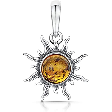 Hand crafted Green BALTIC AMBER Sun Pendant in 925 Sterling Silver Poland