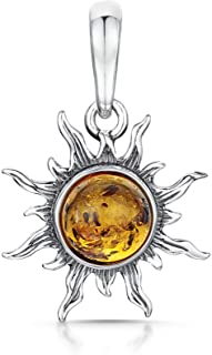 Amberta 925 Sterling Silver with Genuine Baltic Amber - Sun Pendant for Women - Various Stone Colours
