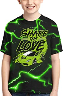Unisex Share The Love Children's 3D Printed Polyester T-Shirt, Youth Short Sleeve Tops Tee for Boys and Girls