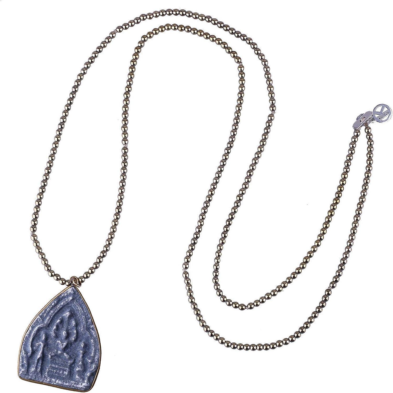 KELITCH Buddha Pendant Necklaces Gold Metal Beaded Necklaces Yoga Meditation Necklaces (Gold C)