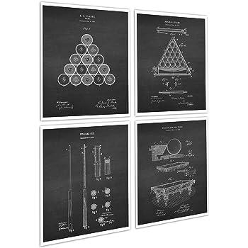 Billiards Pool Room Decor Set of 4 Unframed Art Prints of Billiards Patent Diagrams