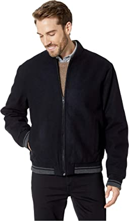 Wool Bomber Jacket with Contrast Rib Tipping